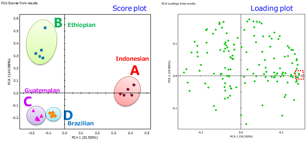GC-TOFMS JEOL / PCA score plot and loading plot.