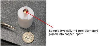 A copper pot used as a sample holder for the ionRocket