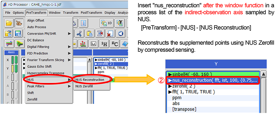 NUS data processing by Delta NMR Software ver  5 2