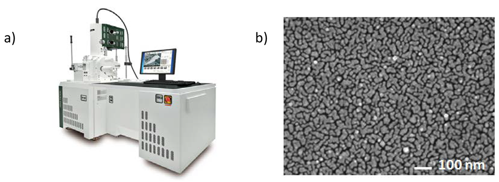 a) JSM-7610F and b) SEM image of Ag-NP deposited on sample surface.