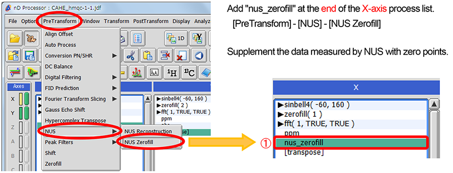 NUS data processing by Delta NMR Software ver. 5.2