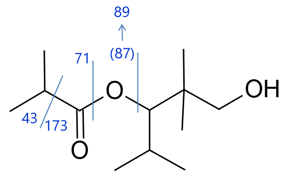 Structure formula for 2,2,4-Trimethyl-1,3-pentanediol diisobutyrate