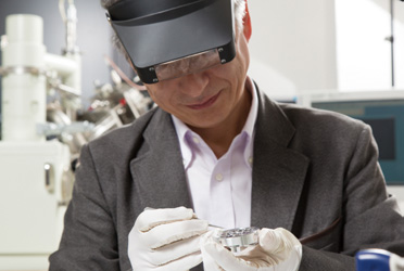 """Even with my aged eyes, it's easy"" Professor Terauchi said, wearing a headband magnifier, quickly setting a sample."